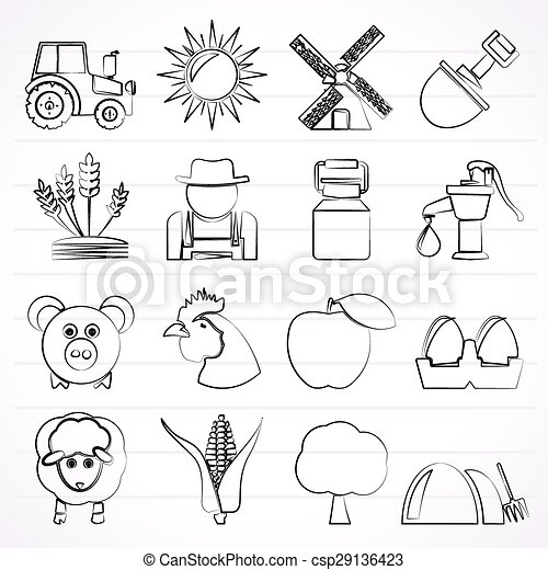 Agriculture and farming icons - csp29136423