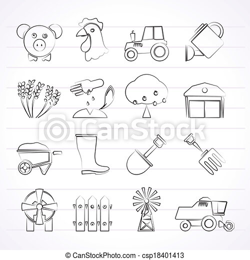 Agriculture and farming icons - csp18401413