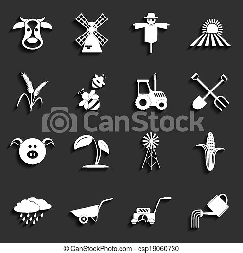 Agriculture and farming icons. Vector illustration - csp19060730