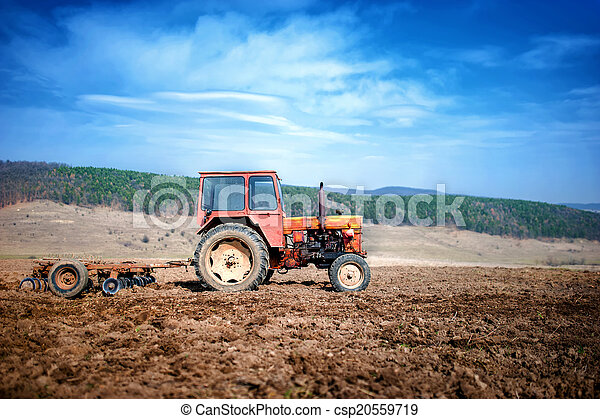 agriculture and harvesting - Vintage tractor - csp20559719