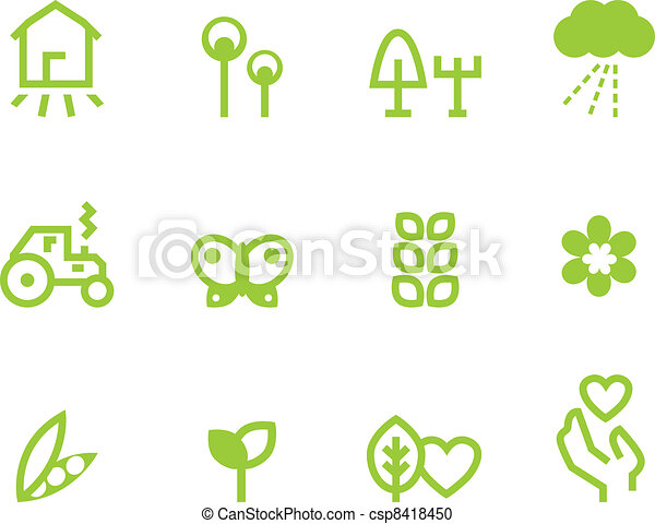 Agriculture & farming icons set isolated on white ( green ) - csp8418450