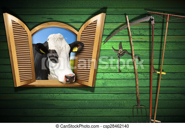Dessin de agriculture fen tre concept ouvert b tail for Ferme la fenetre
