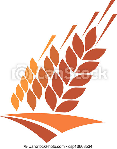Agriculture icon with a field of golden wheat - csp18663534
