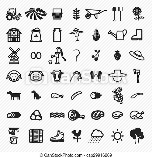Agriculture icons set. illustration - csp29916269
