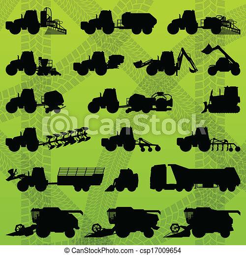 Agriculture industrial farming equipment tractors, trucks, harvesters, combines and excavators - csp17009654