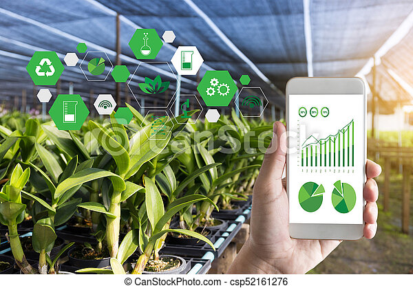 agriculture technology concept man Agronomist Using a Tablet Internet of things report - csp52161276