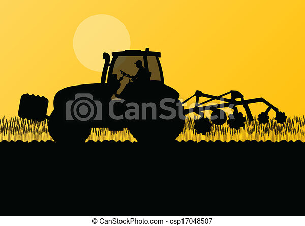 Agriculture tractor cultivating the land in cultivated country grain field landscape background illustration vector - csp17048507