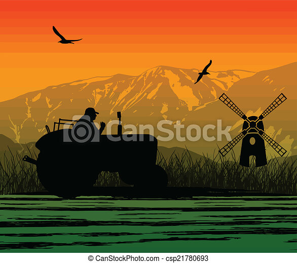 Agriculture tractor in cultivated landscape - csp21780693
