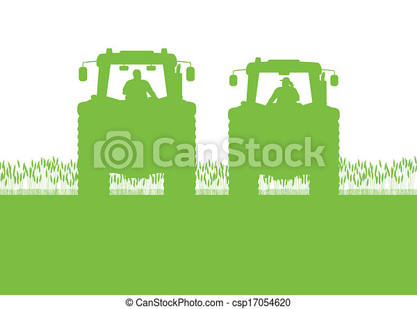 Agriculture tractor in cultivated country corn field landscape background illustration vector - csp17054620