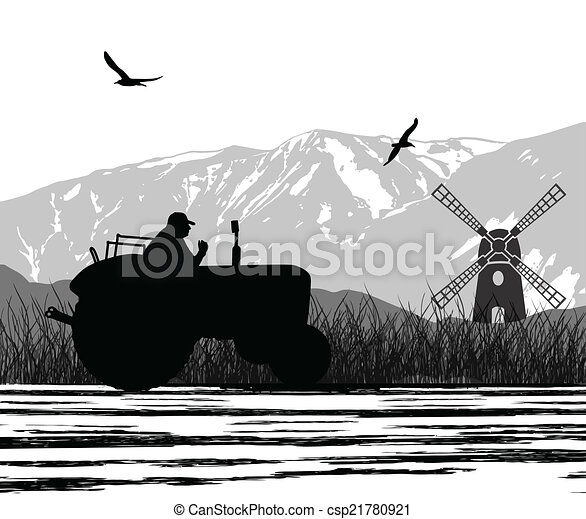Agriculture tractor in cultivated landscape - csp21780921
