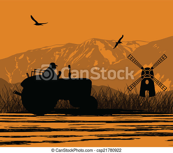 Agriculture tractor in cultivated landscape - csp21780922