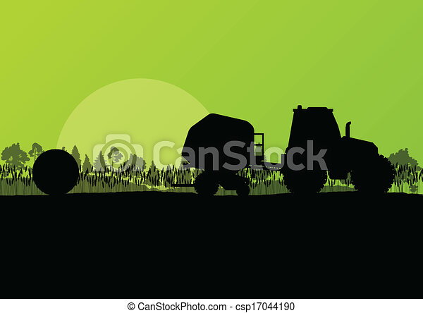 Agriculture tractor making hay bales in cultivated countryside fields landscape background illustration vector - csp17044190