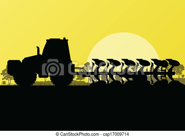 Agriculture tractor plowing land in cultivated country fields landscape background illustration vector - csp17009714