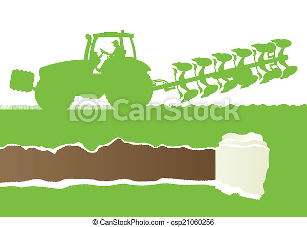Agriculture tractor plowing the land in cultivated country grain - csp21060256