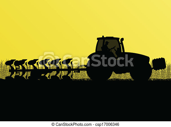 Agriculture tractor plowing the land in cultivated country grain field landscape background illustration vector - csp17006346