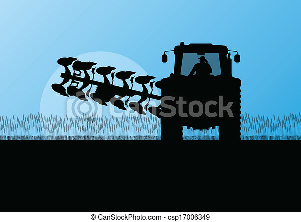 Agriculture tractor plowing the land in cultivated country grain field landscape background illustration vector - csp17006349