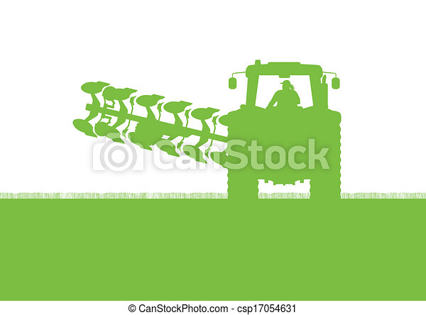 Agriculture tractor plowing the land in cultivated country grain field landscape background illustration vector - csp17054631