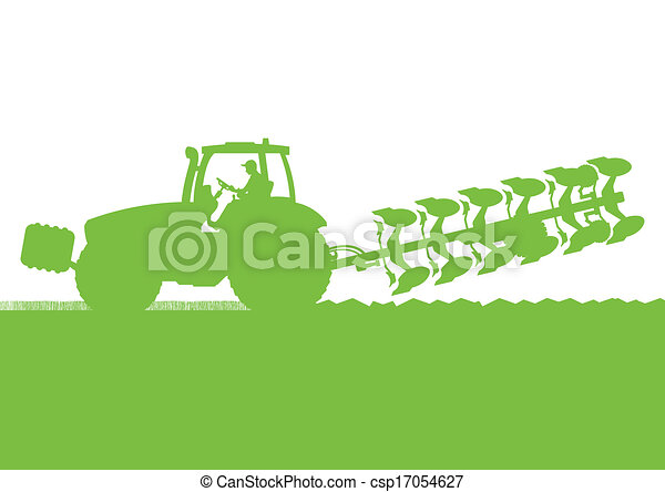 Agriculture tractor plowing the land in cultivated country grain field landscape background illustration vector - csp17054627