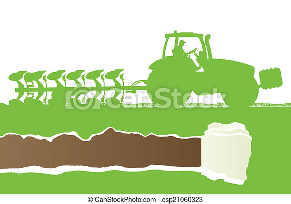 Agriculture tractor plowing the land in cultivated country grain - csp21060323