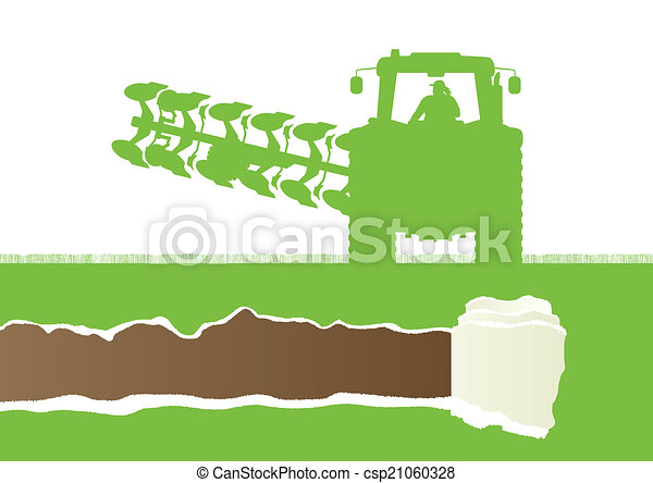 Agriculture tractor plowing the land in cultivated country grain - csp21060328