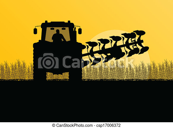 Agriculture tractor plowing the land in cultivated country grain field landscape background illustration vector - csp17006372