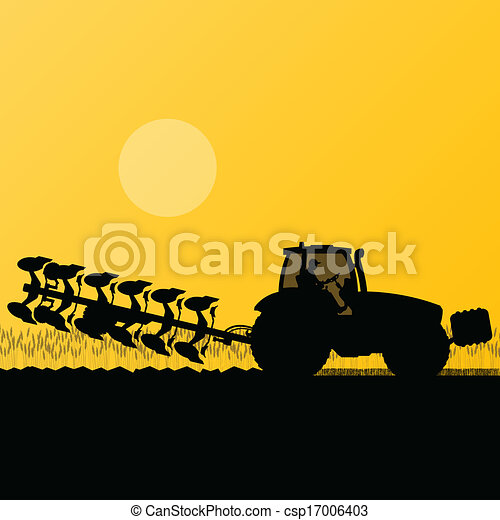Agriculture tractor plowing the land in cultivated country grain field landscape background illustration vector - csp17006403