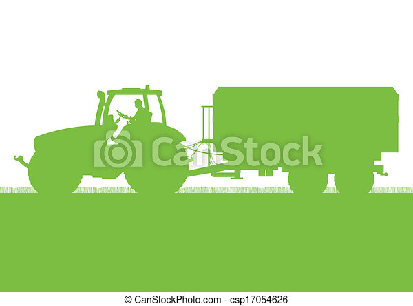 Agriculture tractor with corn trailer in cultivated country grain field landscape background illustration vector - csp17054626