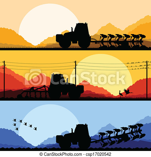 Agriculture tractors plowing the land in cultivated country fields landscape background illustration vector - csp17020542
