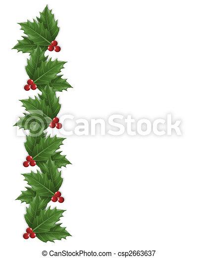 Agrifoglio Bordo Natale Illustrazione Foglie Composizione
