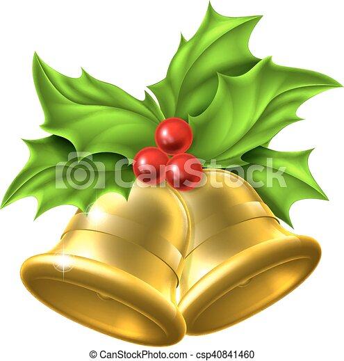 Agrifoglio Disegno Natale Campana Oro Oro Disegno Ramoscello