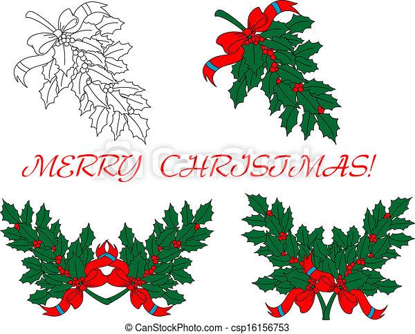 Agrifoglio Disegno Rami Natale Vacanza Rami Disegno Bacche