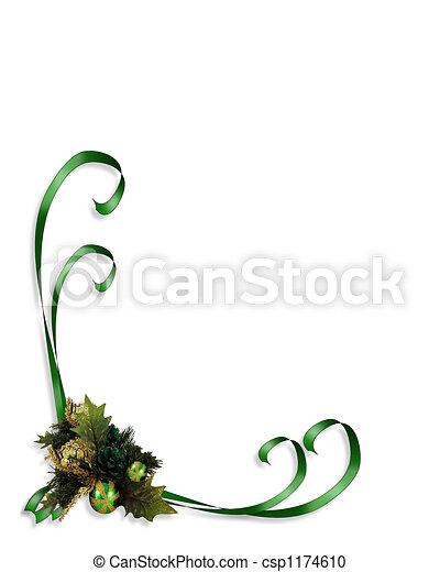 Agrifoglio Nastri Natale Composition Foglie Illustrazione
