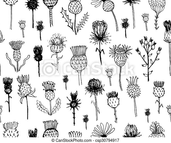 Agrimony plants seamless pattern, sketch for your design - csp30794917