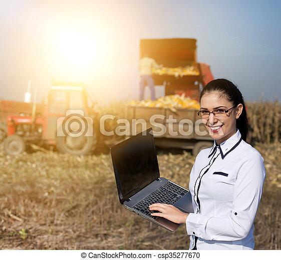 agronomist, laptop, kobieta, kukurydziane pole - csp35277670
