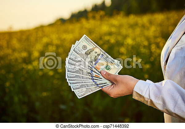 Agronomist woman or farmer holding money dollar banknote with blossoming cultivated canola field in background - csp71448392