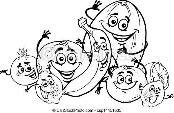 agrume, cartone animato, libro colorante, frutte - csp14451635
