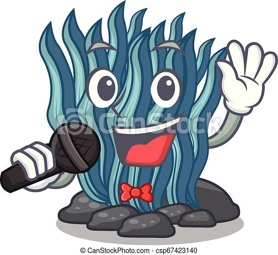 Dibujos de algas azules cantando bajo el agua del mar - csp67423140