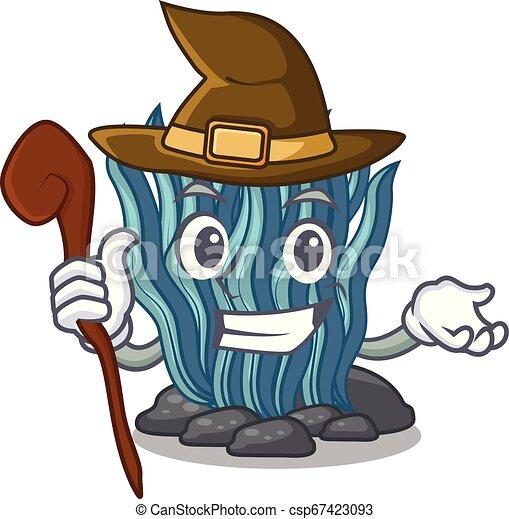 agua azul, bruja, alga, mar, debajo, caricatura - csp67423093