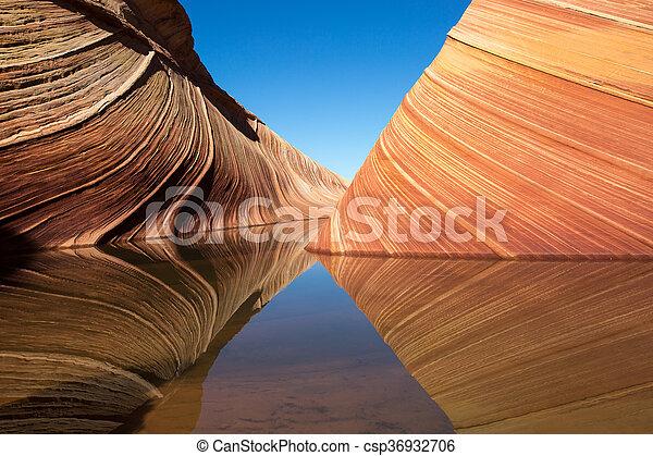 Reflejo en el agua en la colilla de coyotes - csp36932706
