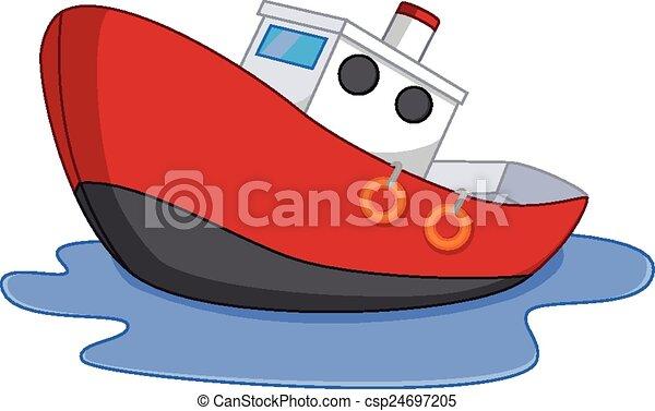 Azul Vector Ilustración Amarillo Rojo Caricatura Barco