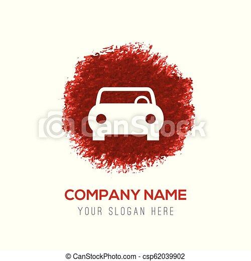 El icono del auto, el círculo rojo acuarela - csp62039902