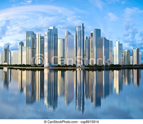 Skyscraper Skyline se refleja en el agua - csp8915914