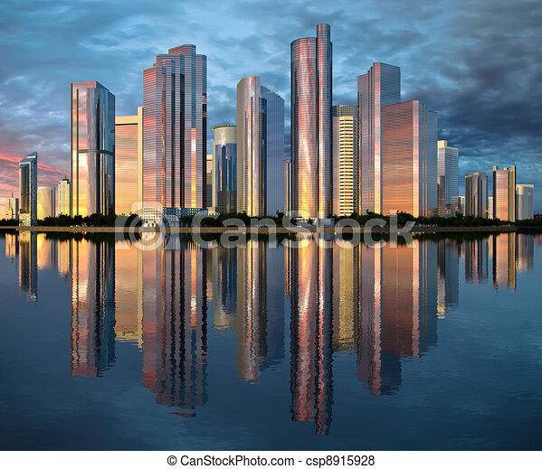 El rascacielos reflejado en el agua - csp8915928