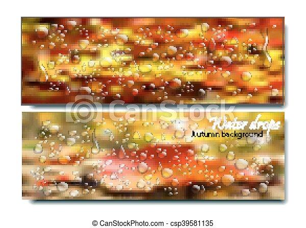 Banners horizontales con gotas de agua en el fondo de otoño. Vector hermoso concepto de ventana lluviosa. Un vaso de lluvia. Día. - csp39581135