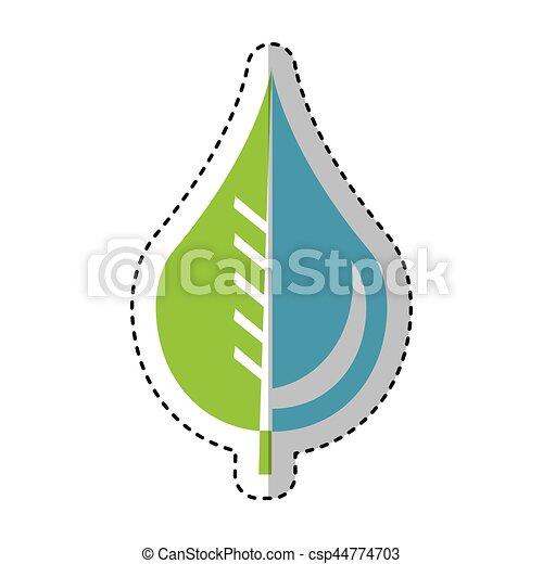 Vector Clip Art de agua emblema gota hoja puro  agua pura