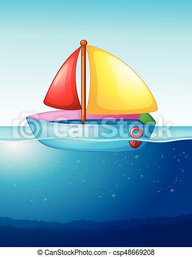 Un Bote De Juguete Flotando En El Agua Barco De Juguete Flotando En La Ilustración Del Agua Canstock