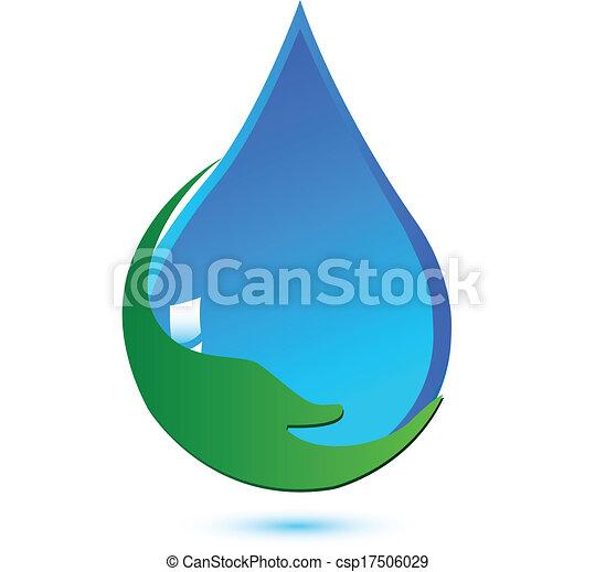 agua logotipo proteger concepto mano proteger