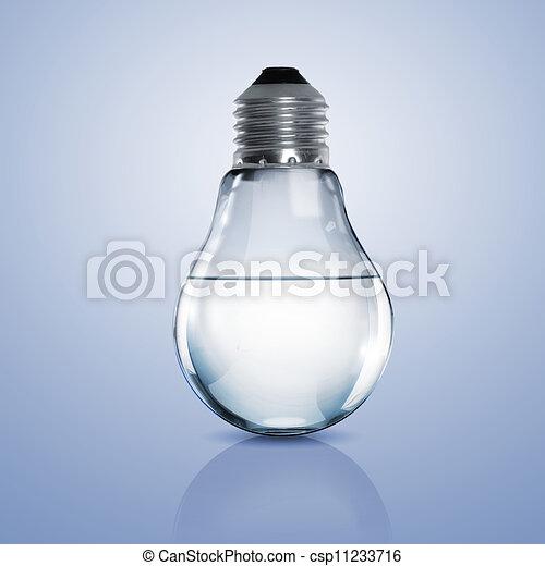 Una bombilla eléctrica con agua limpia - csp11233716