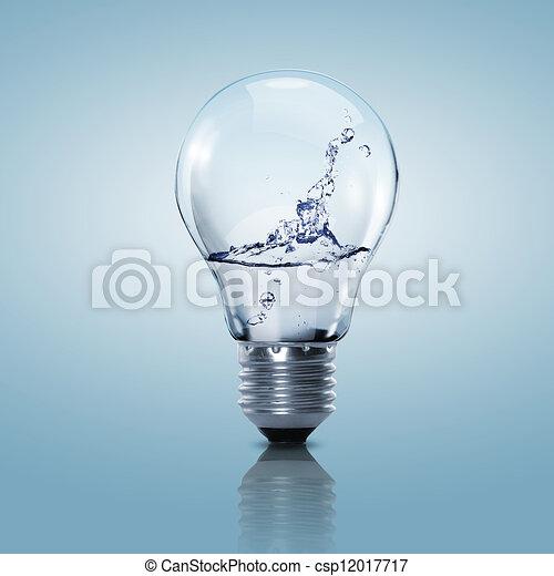 Una bombilla eléctrica con agua limpia - csp12017717