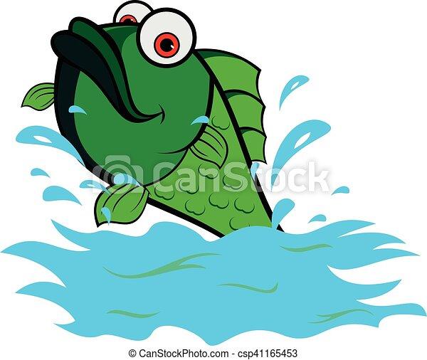 Peces verdes en agua de mar - csp41165453